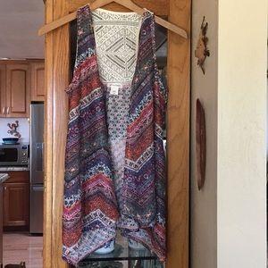 Crochet open drape vest